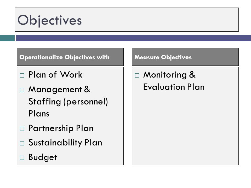 Objectives Plan of Work Management & Staffing (personnel) Plans