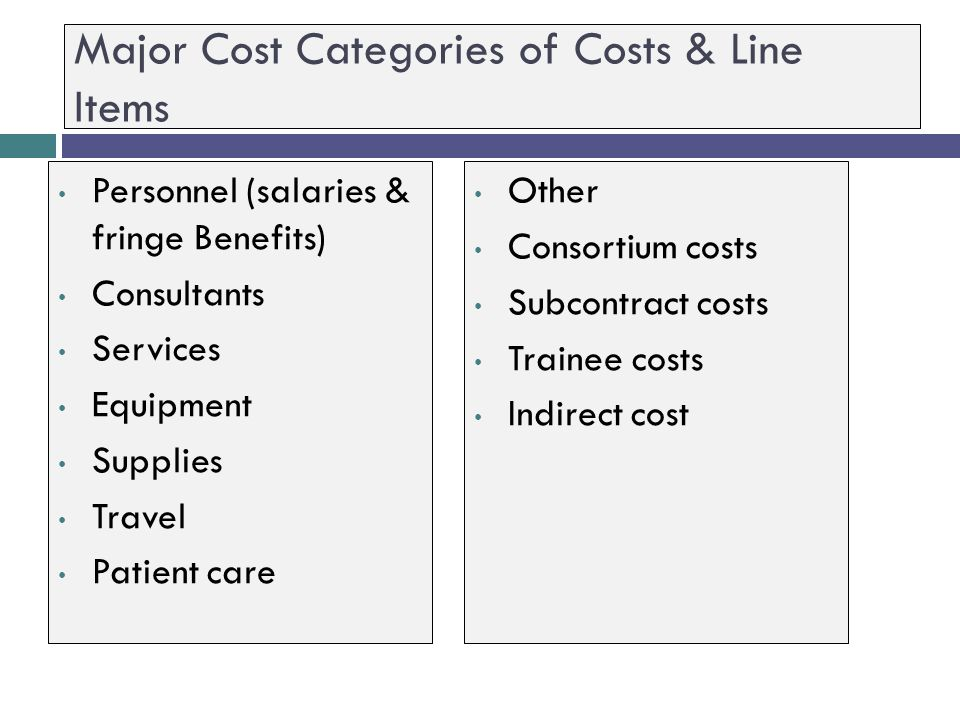 Major Cost Categories of Costs & Line Items