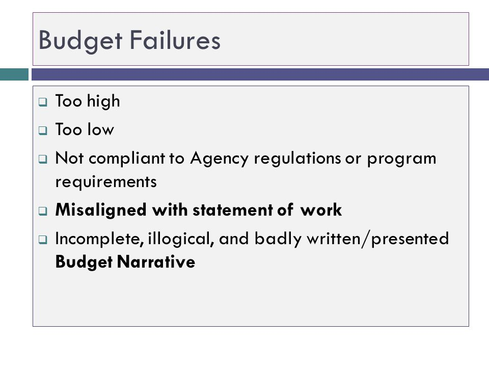 Budget Failures Too high Too low