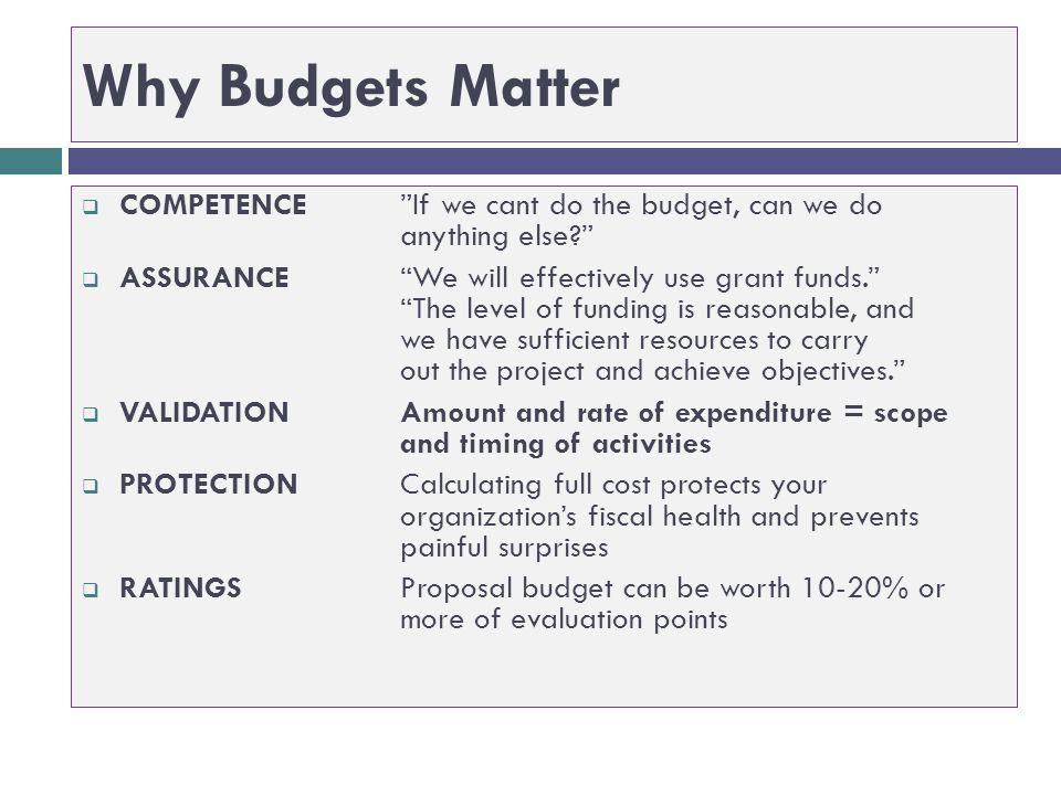 Why Budgets Matter COMPETENCE If we cant do the budget, can we do anything else