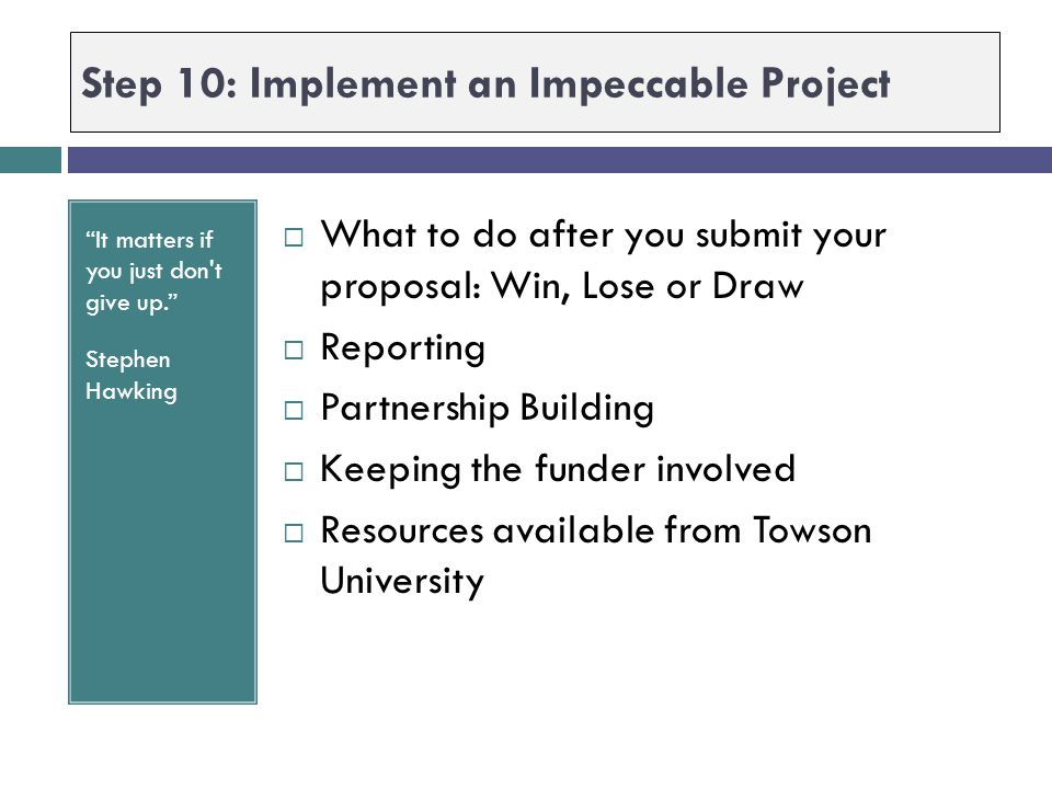 Step 10: Implement an Impeccable Project