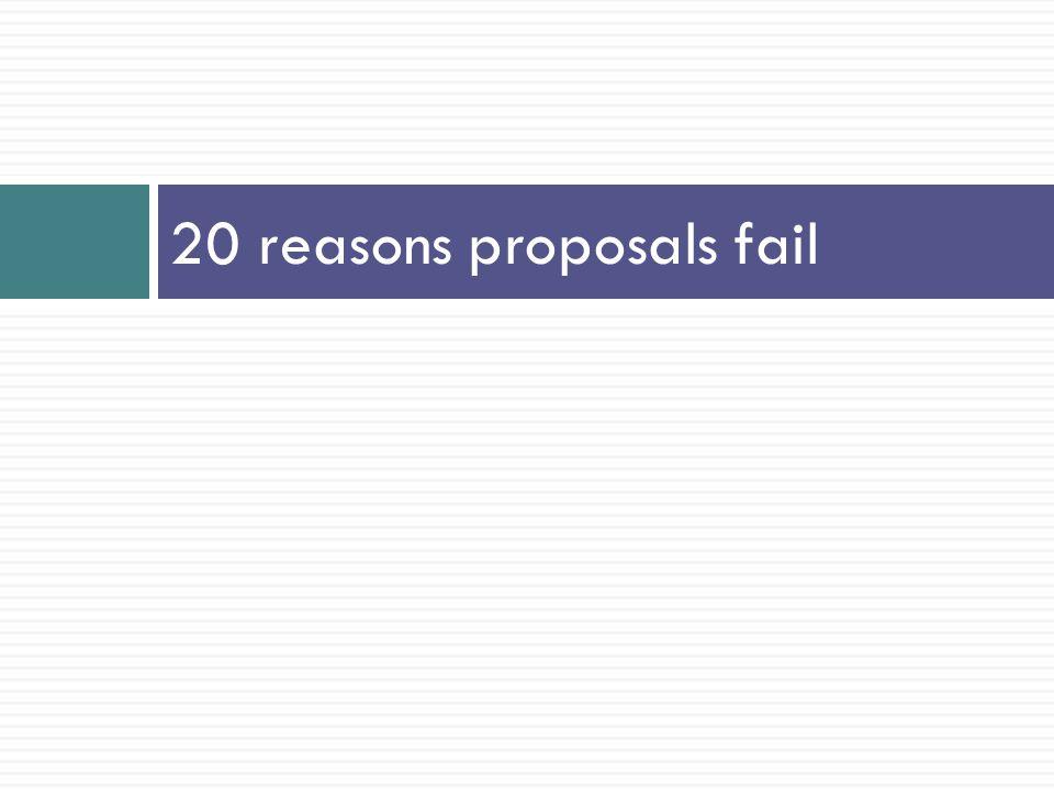 20 reasons proposals fail