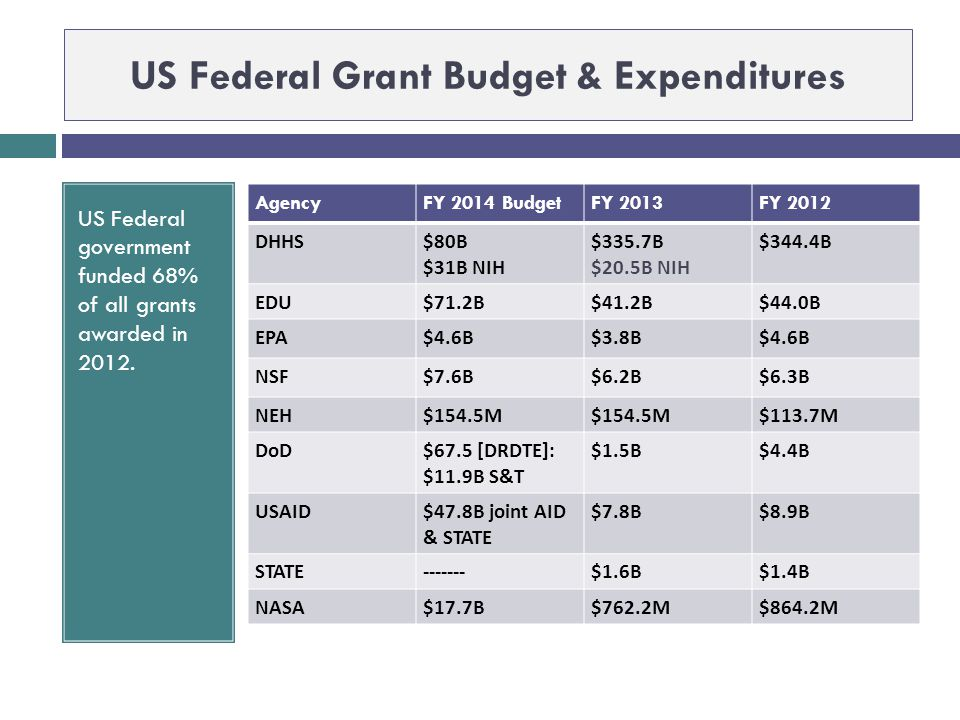US Federal Grant Budget & Expenditures