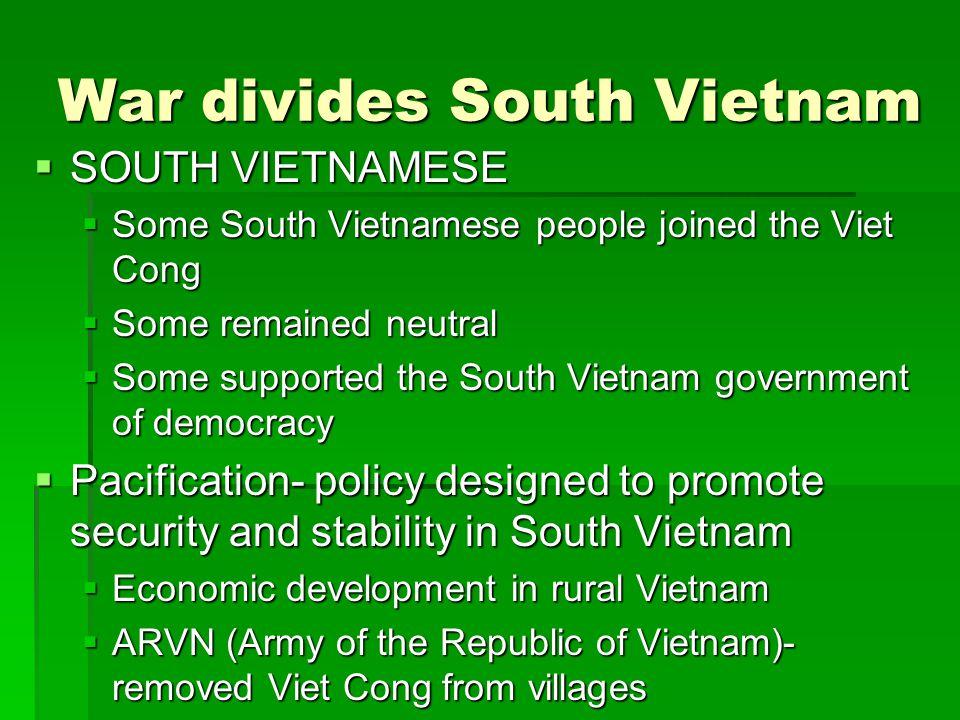 War divides South Vietnam
