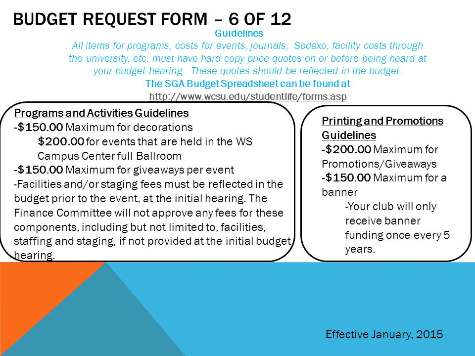 Budget request form – 6 of 12