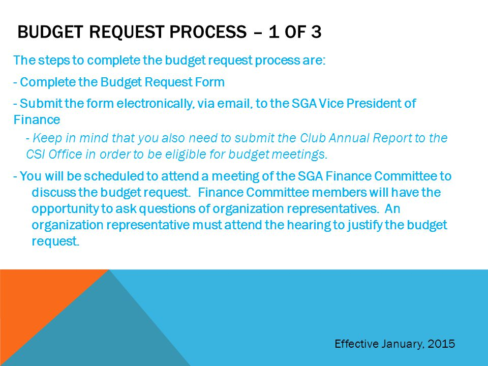 Budget Request Process – 1 of 3