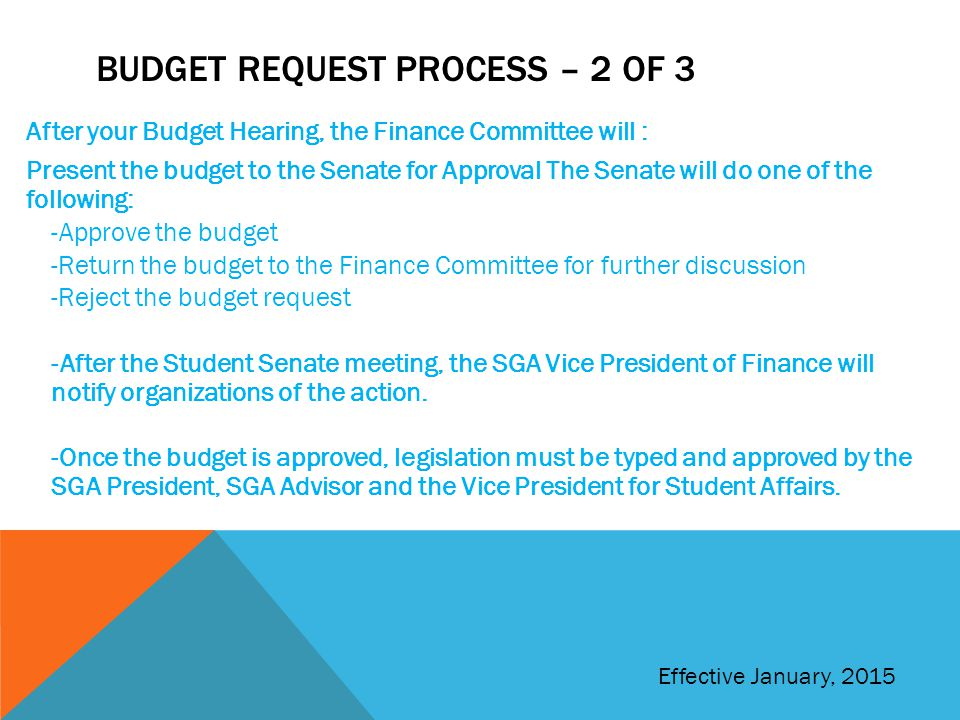 Budget Request Process – 2 of 3