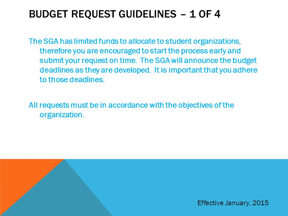 Budget Request Guidelines – 1 of 4