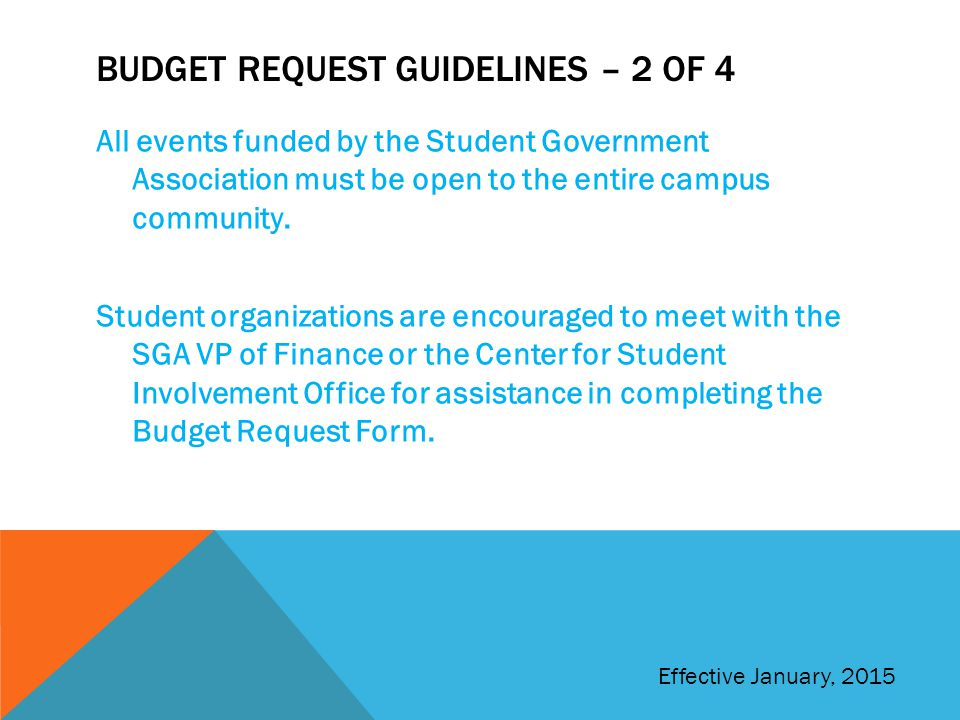 Budget request guidelines – 2 of 4