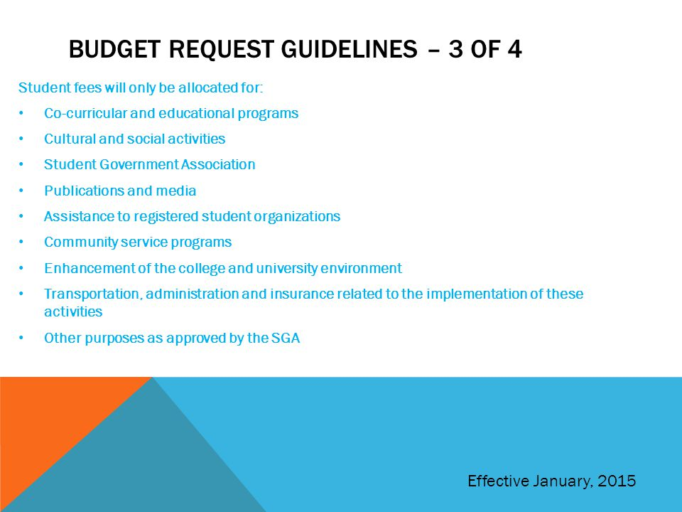 Budget request guidelines – 3 of 4