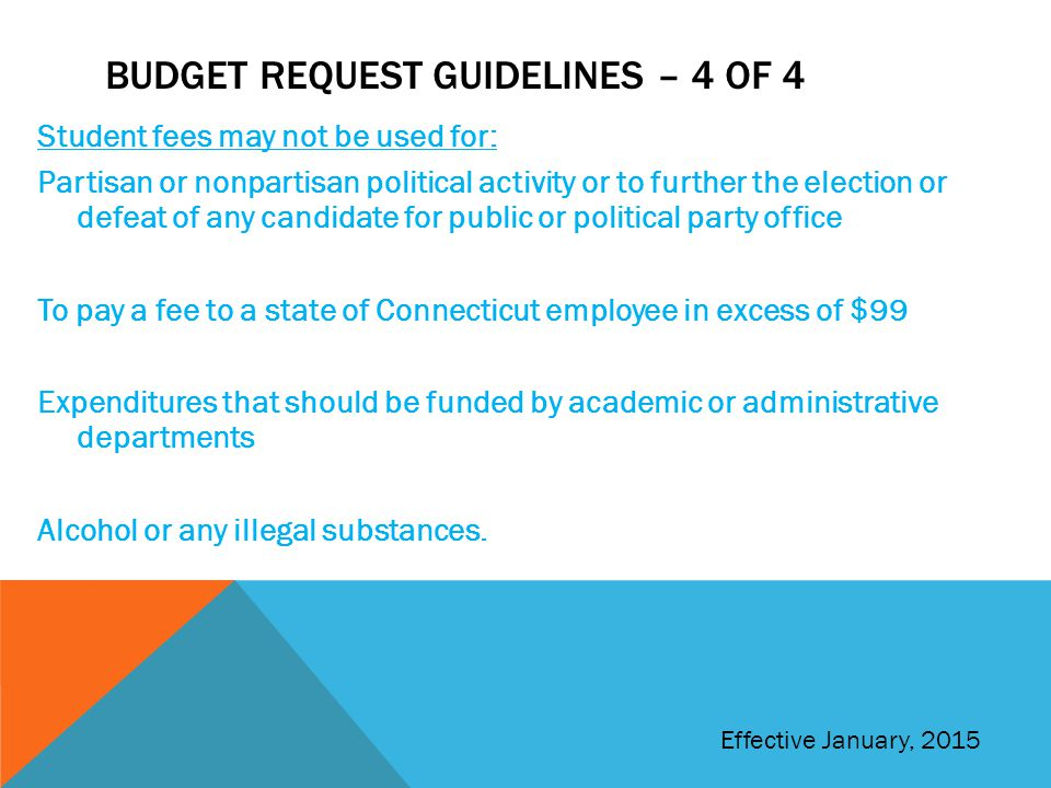 Budget request guidelines – 4 of 4