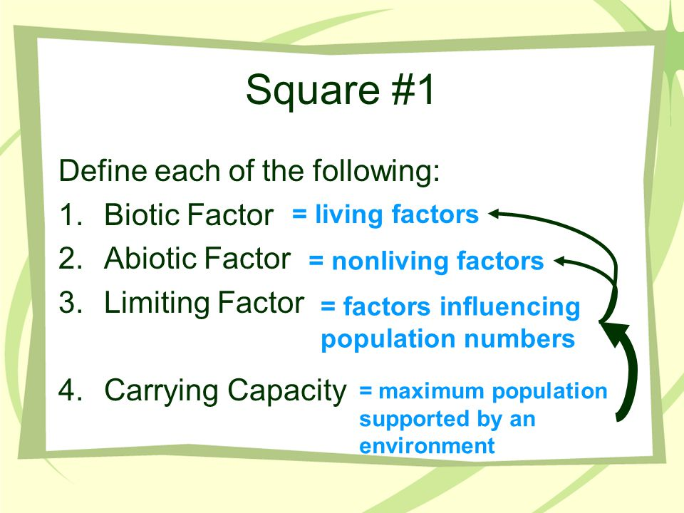 Square #1 Define each of the following: Biotic Factor Abiotic Factor