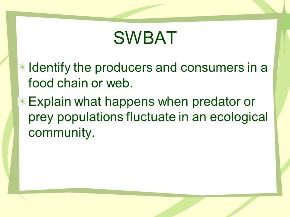 SWBAT Identify the producers and consumers in a food chain or web.