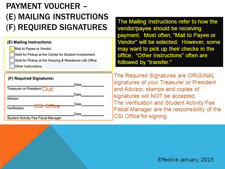 Payment voucher – (e) Mailing instructions (f) required signatures