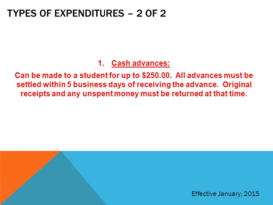 Types of expenditures – 2 of 2
