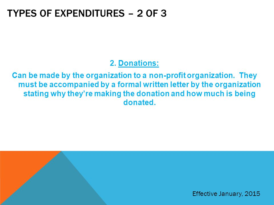 Types of expenditures – 2 of 3