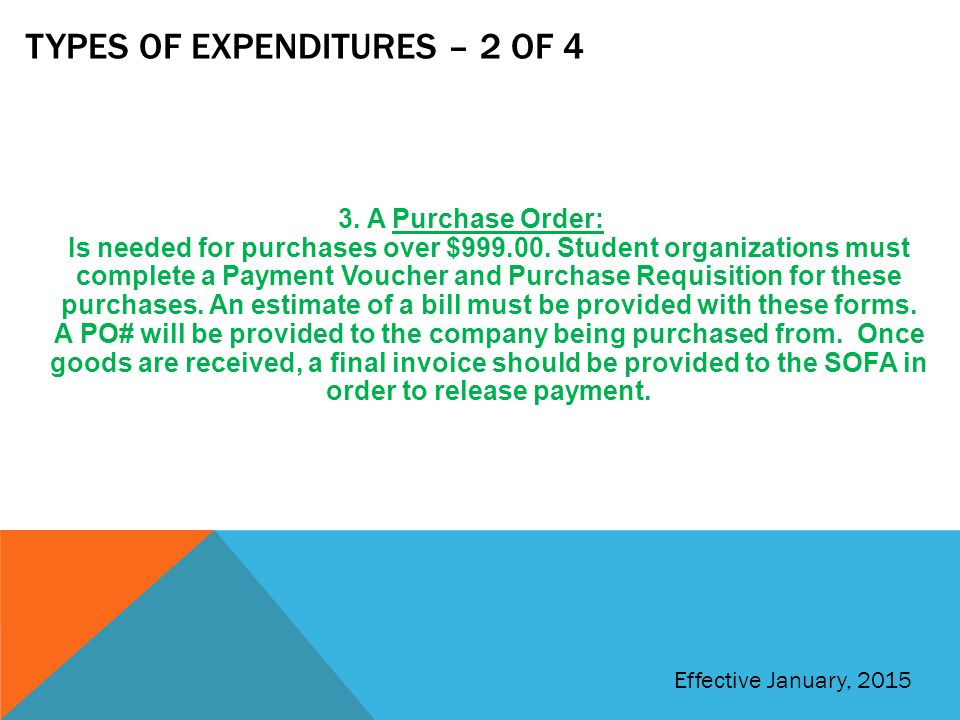 Types of expenditures – 2 of 4