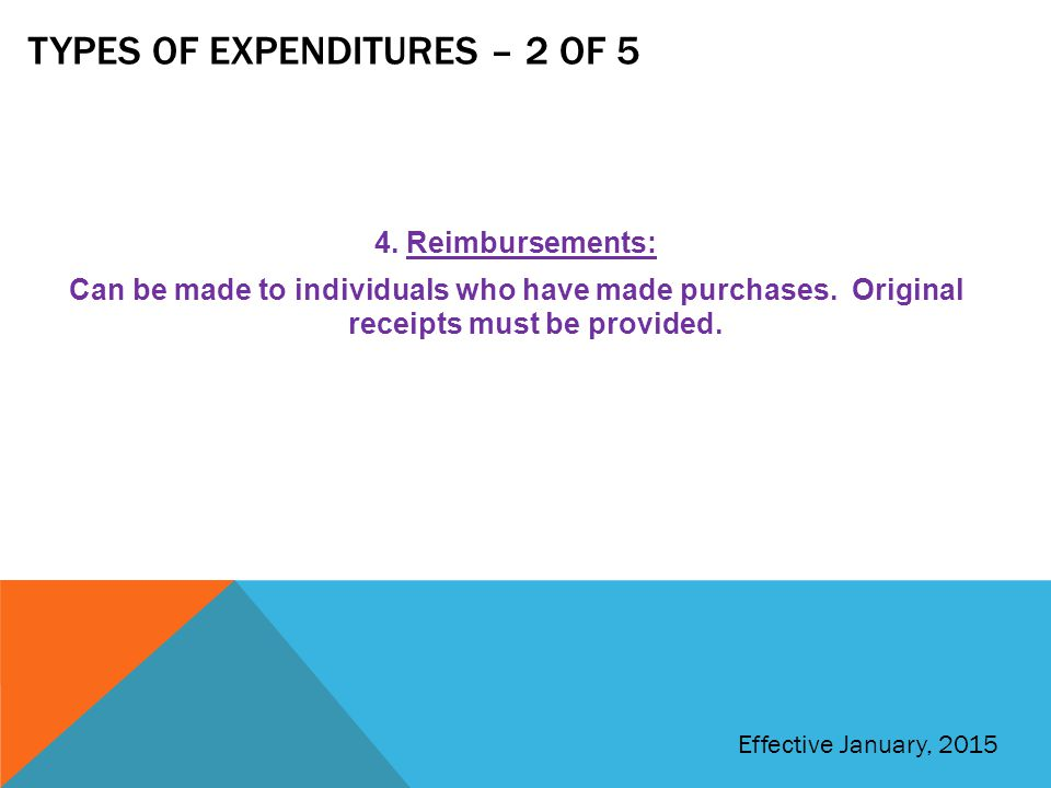 Types of expenditures – 2 of 5