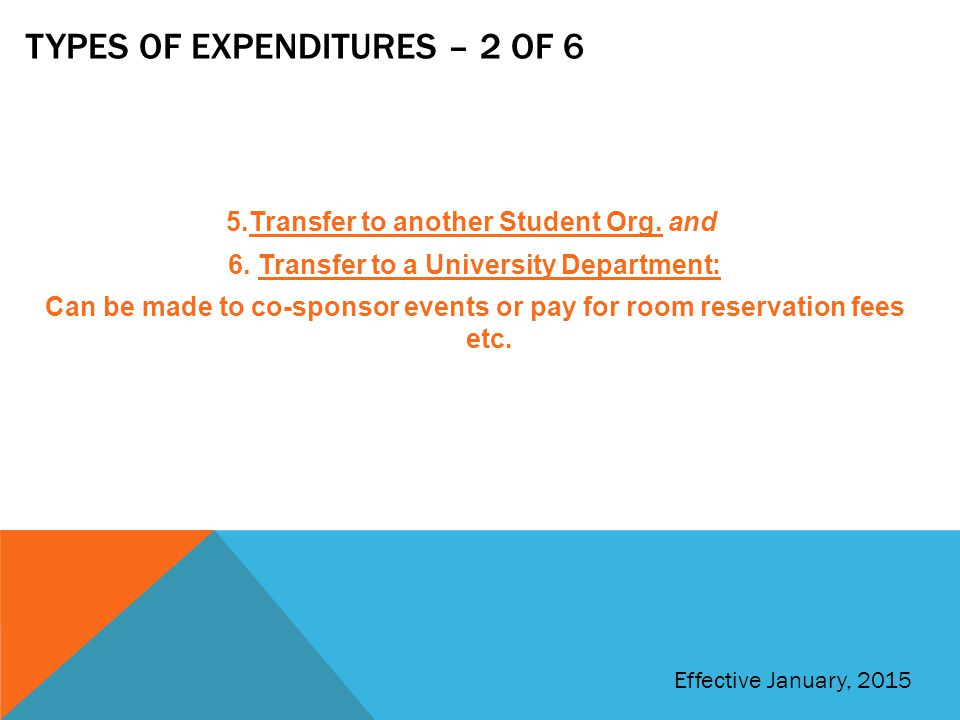 Types of expenditures – 2 of 6