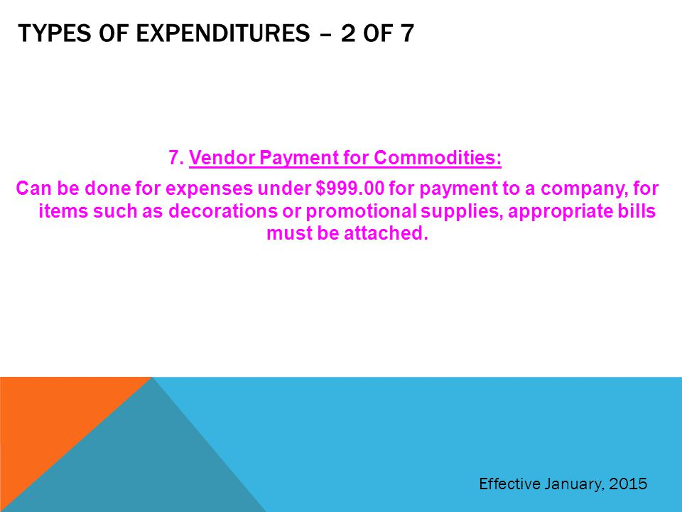 Types of expenditures – 2 of 7