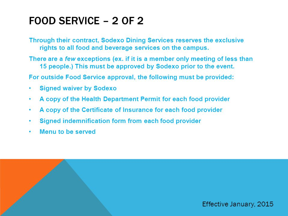Food service – 2 of 2 Effective January, 2015