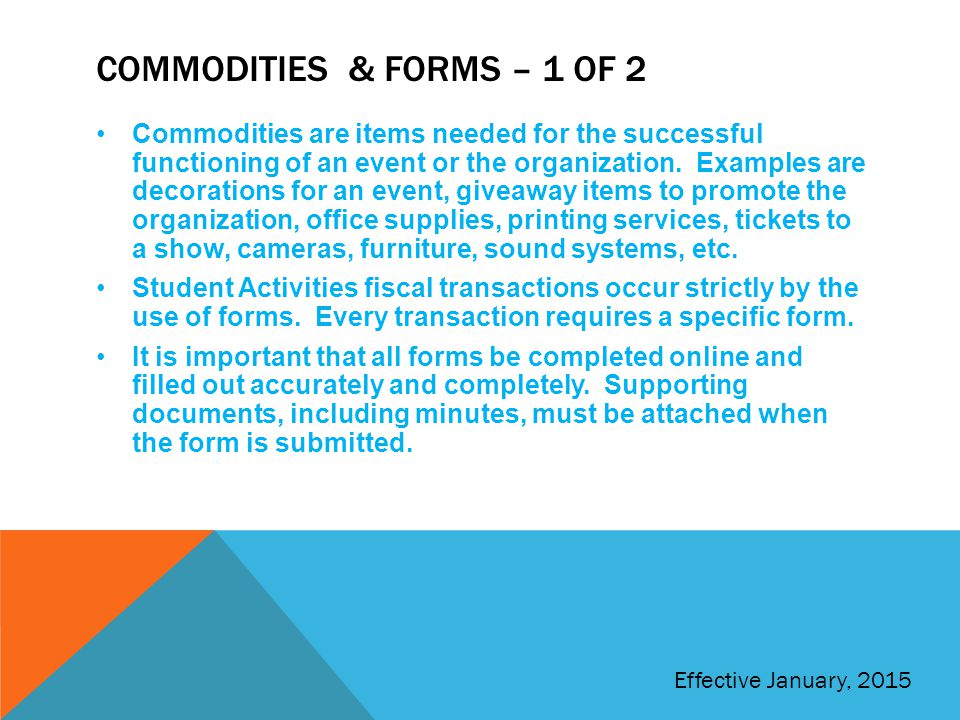 Commodities & Forms – 1 of 2