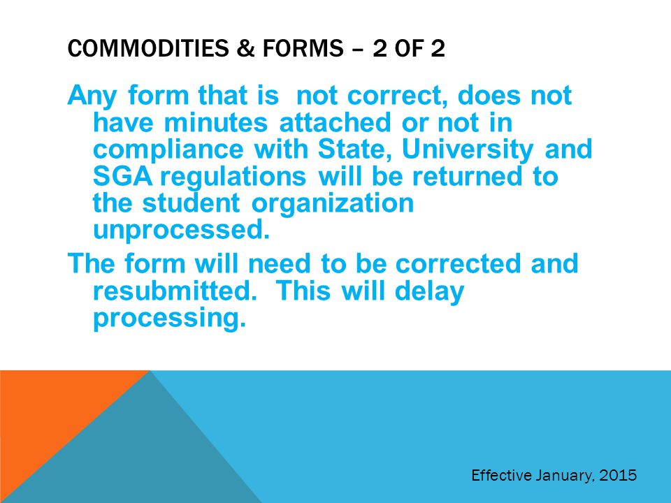 Commodities & forms – 2 of 2