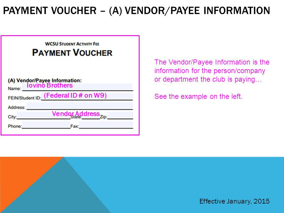 Payment voucher – (a) vendor/payee information