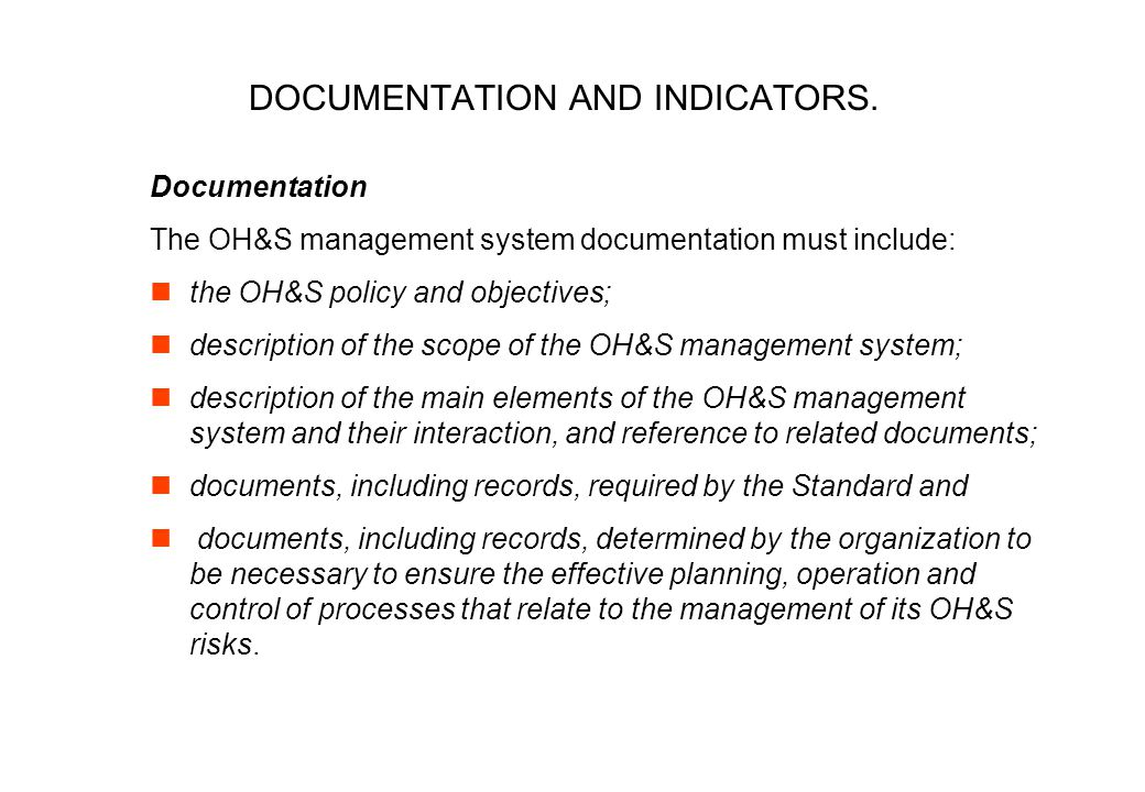 DOCUMENTATION AND INDICATORS.