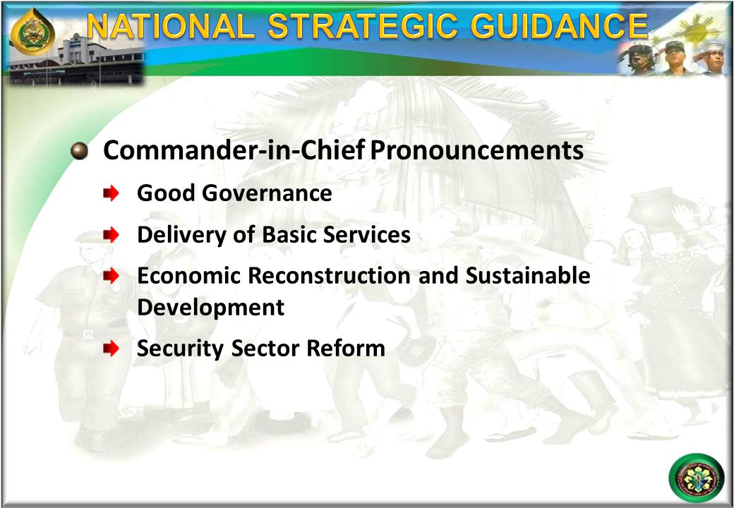 NATIONAL STRATEGIC GUIDANCE