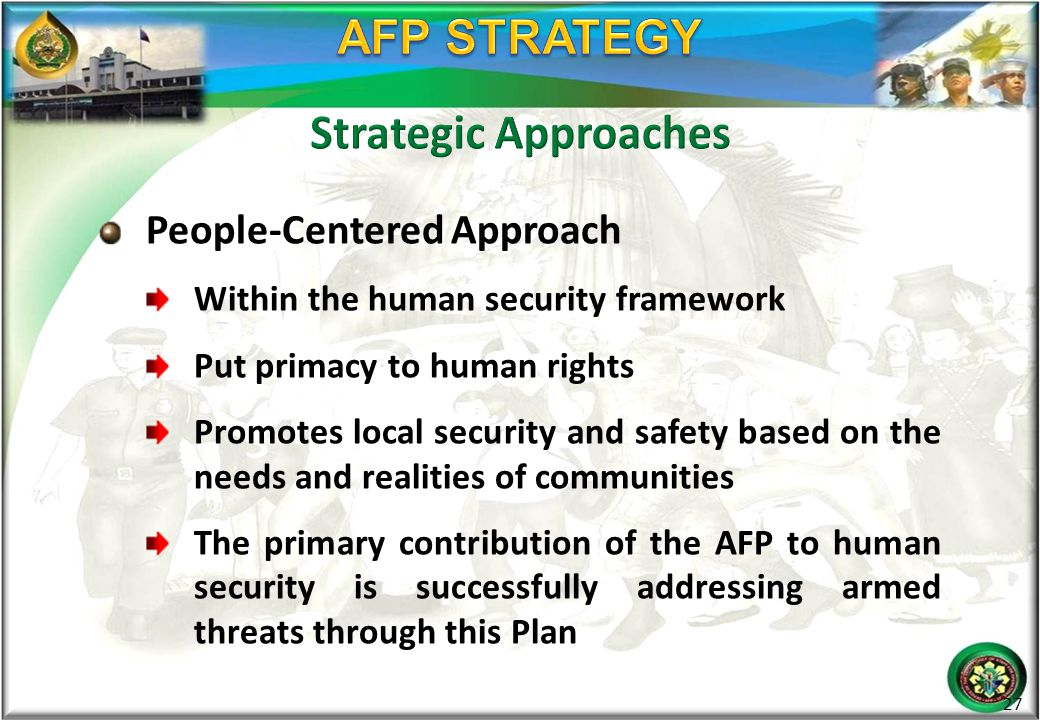 AFP STRATEGY Strategic Approaches People-Centered Approach