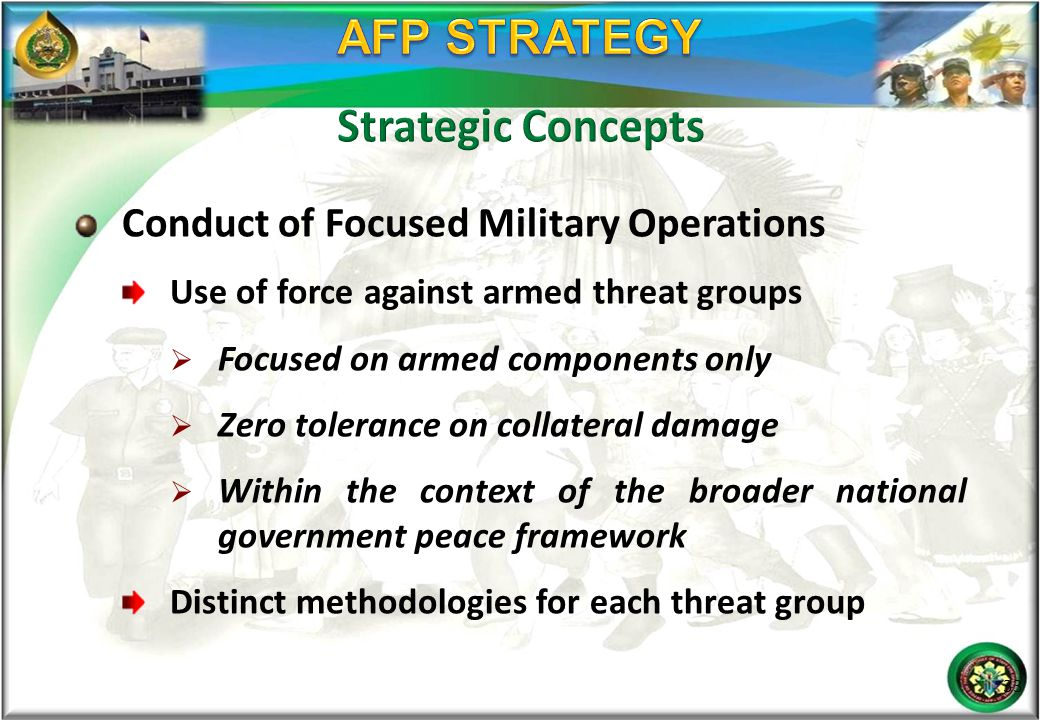 AFP STRATEGY Strategic Concepts Conduct of Focused Military Operations