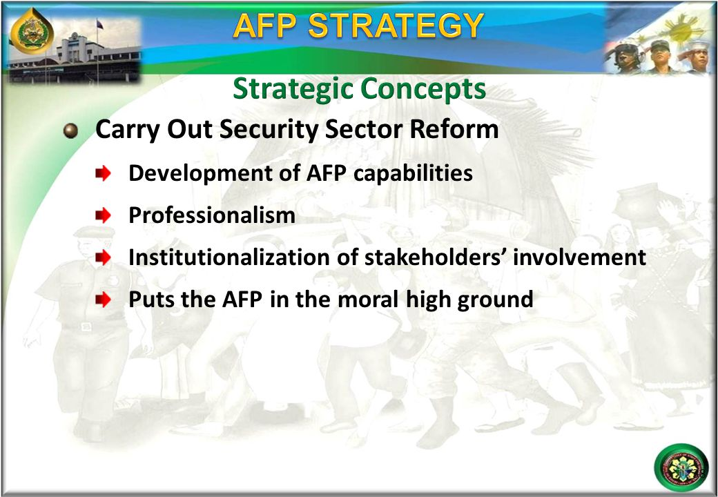 AFP STRATEGY Strategic Concepts Carry Out Security Sector Reform