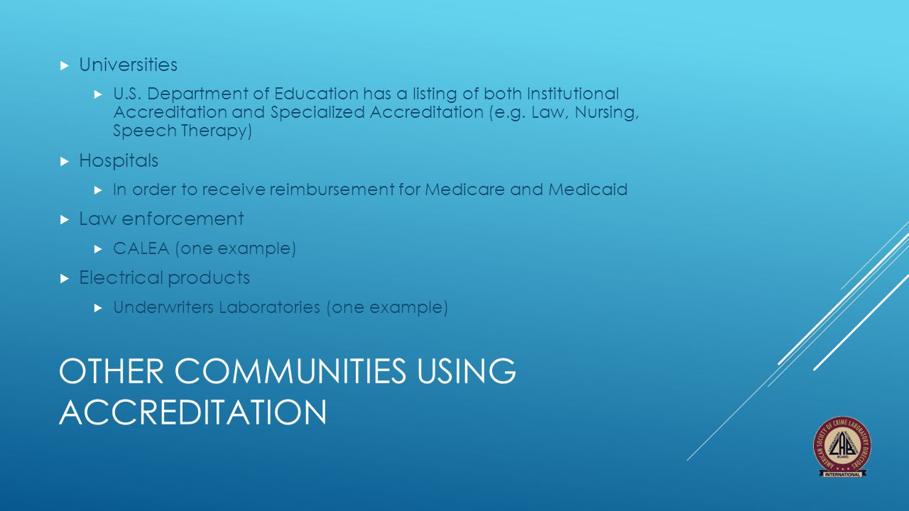 Other Communities using accreditation