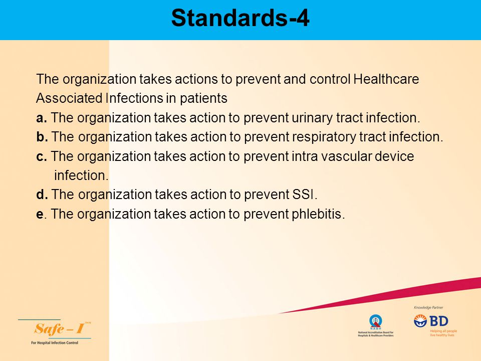 Standards-4 The organization takes actions to prevent and control Healthcare. Associated Infections in patients.