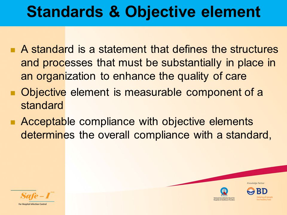 Standards & Objective element