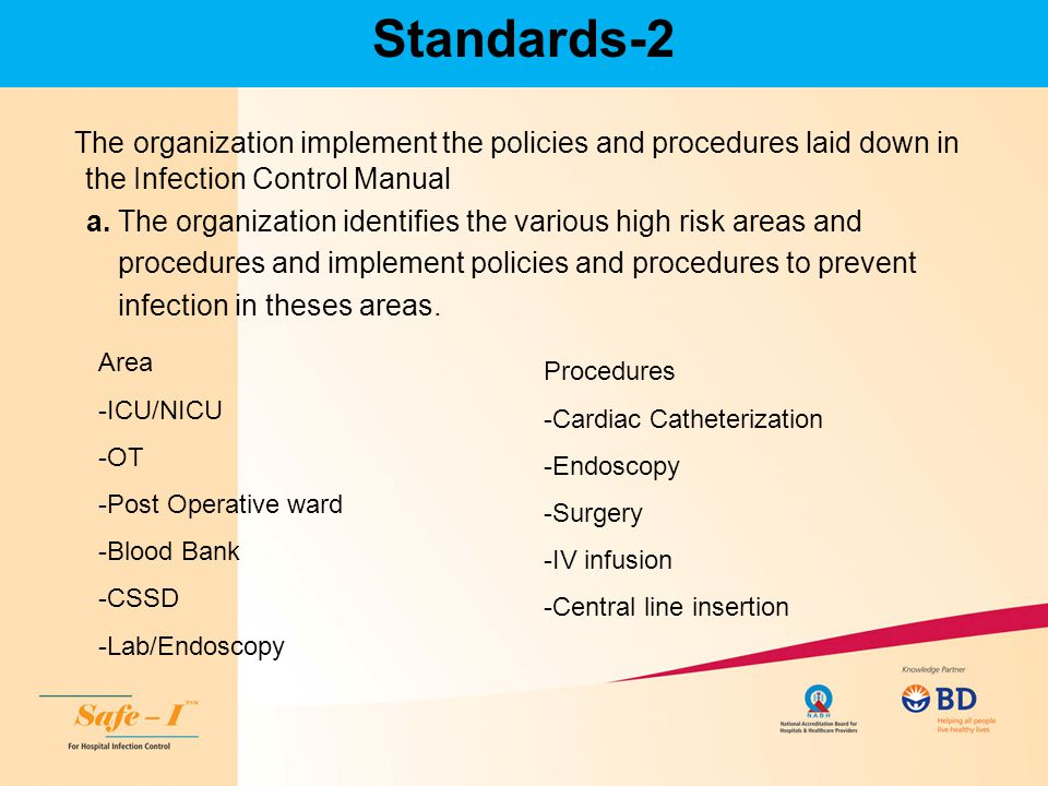 Standards-2 The organization implement the policies and procedures laid down in the Infection Control Manual.
