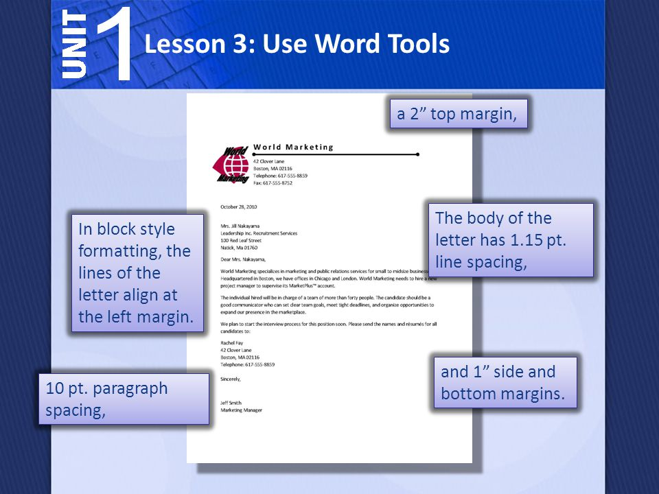 Lesson 3: Use Word Tools a 2 top margin,
