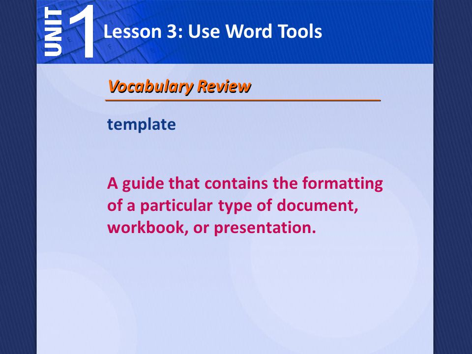 Lesson 3: Use Word Tools Vocabulary Review template