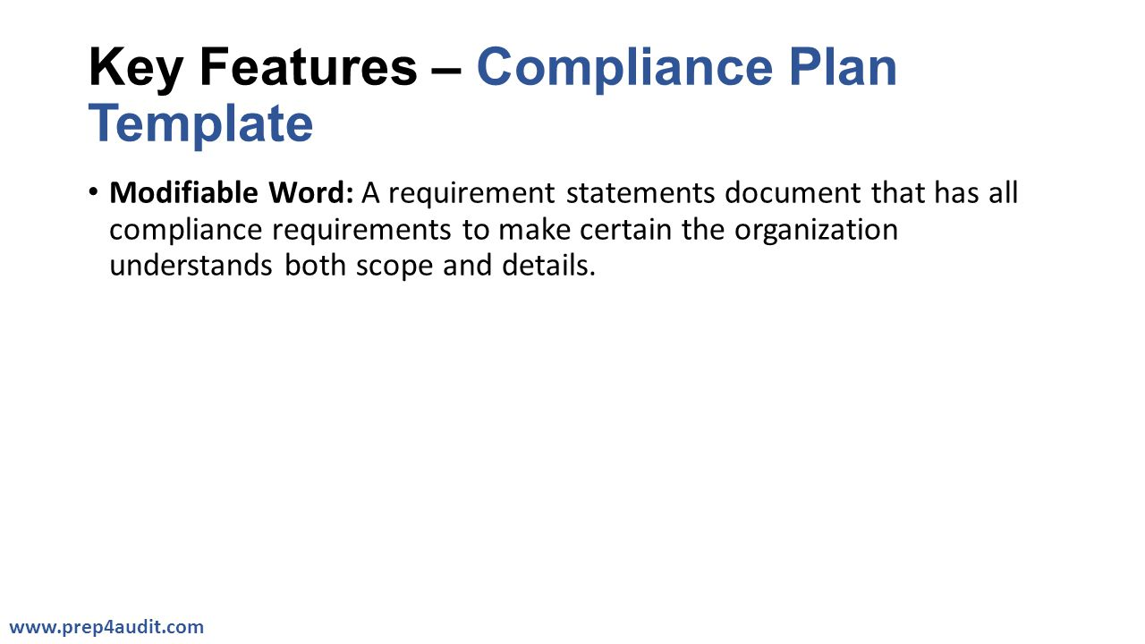 Key Features – Compliance Plan Template