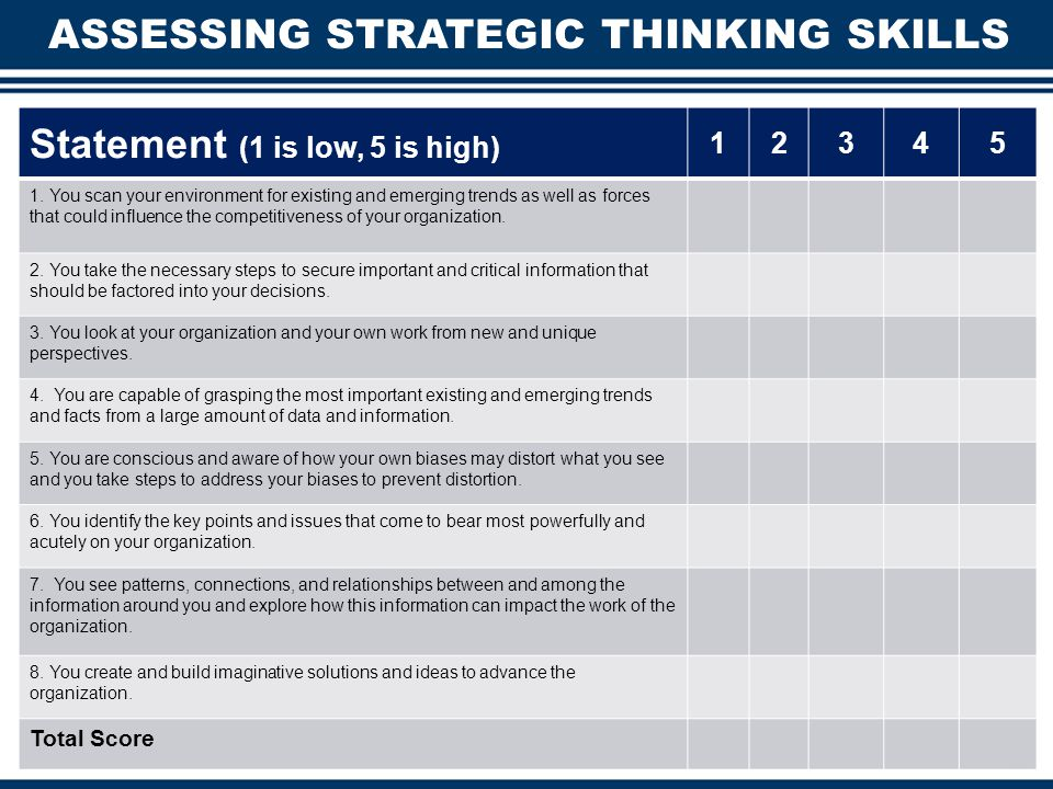 ASSESSING STRATEGIC THINKING SKILLS