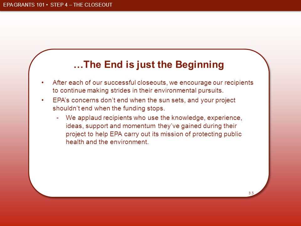 …The End is just the Beginning