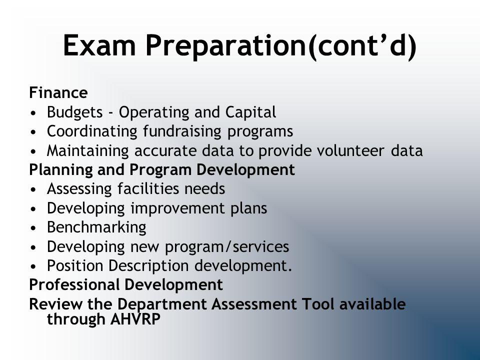 Exam Preparation(cont'd)