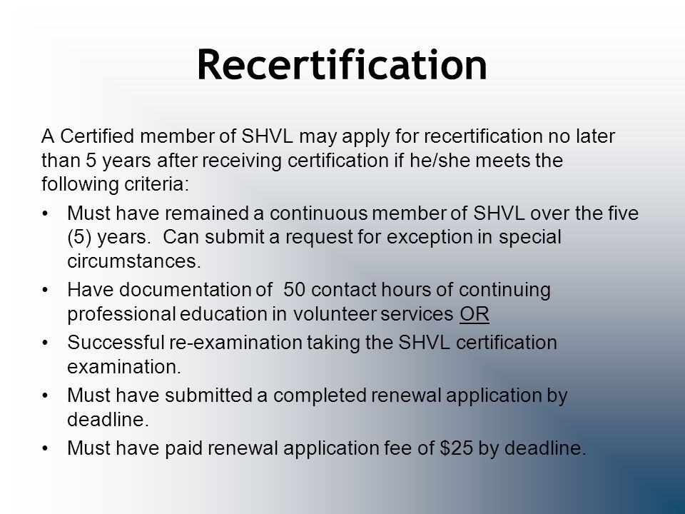 Recertification