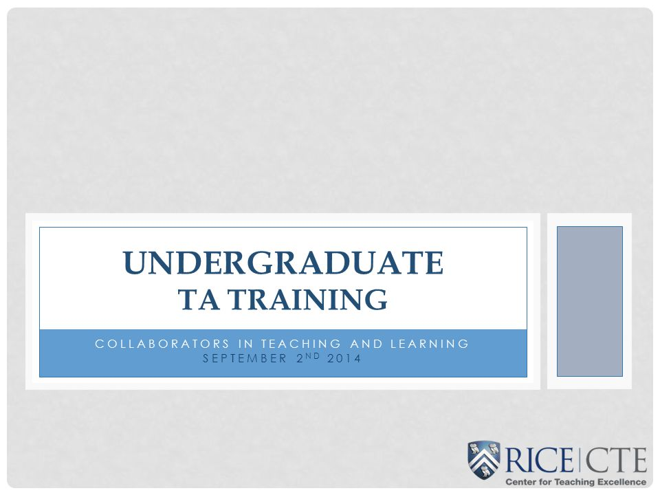 Undergraduate TA Training