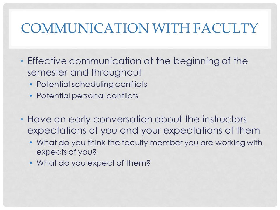 Communication with Faculty