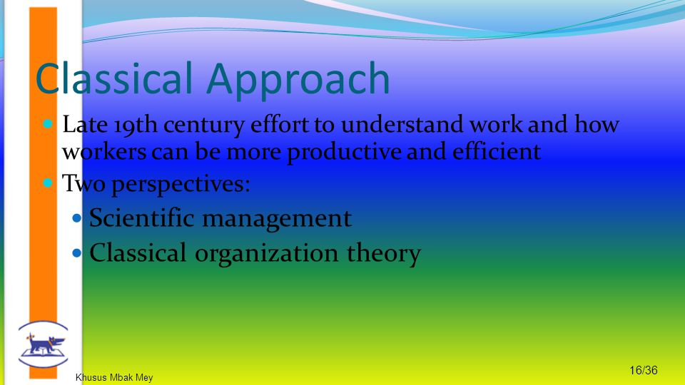 Classical Approach Scientific management Classical organization theory