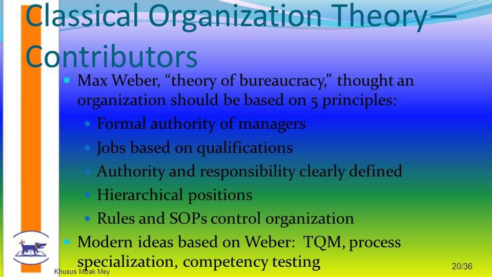 Classical Organization Theory—Contributors