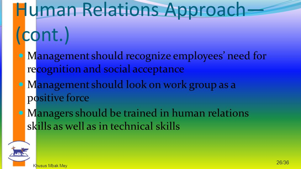 Human Relations Approach—(cont.)