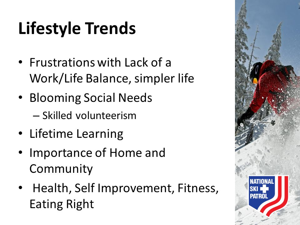 Lifestyle Trends Frustrations with Lack of a Work/Life Balance, simpler life. Blooming Social Needs.